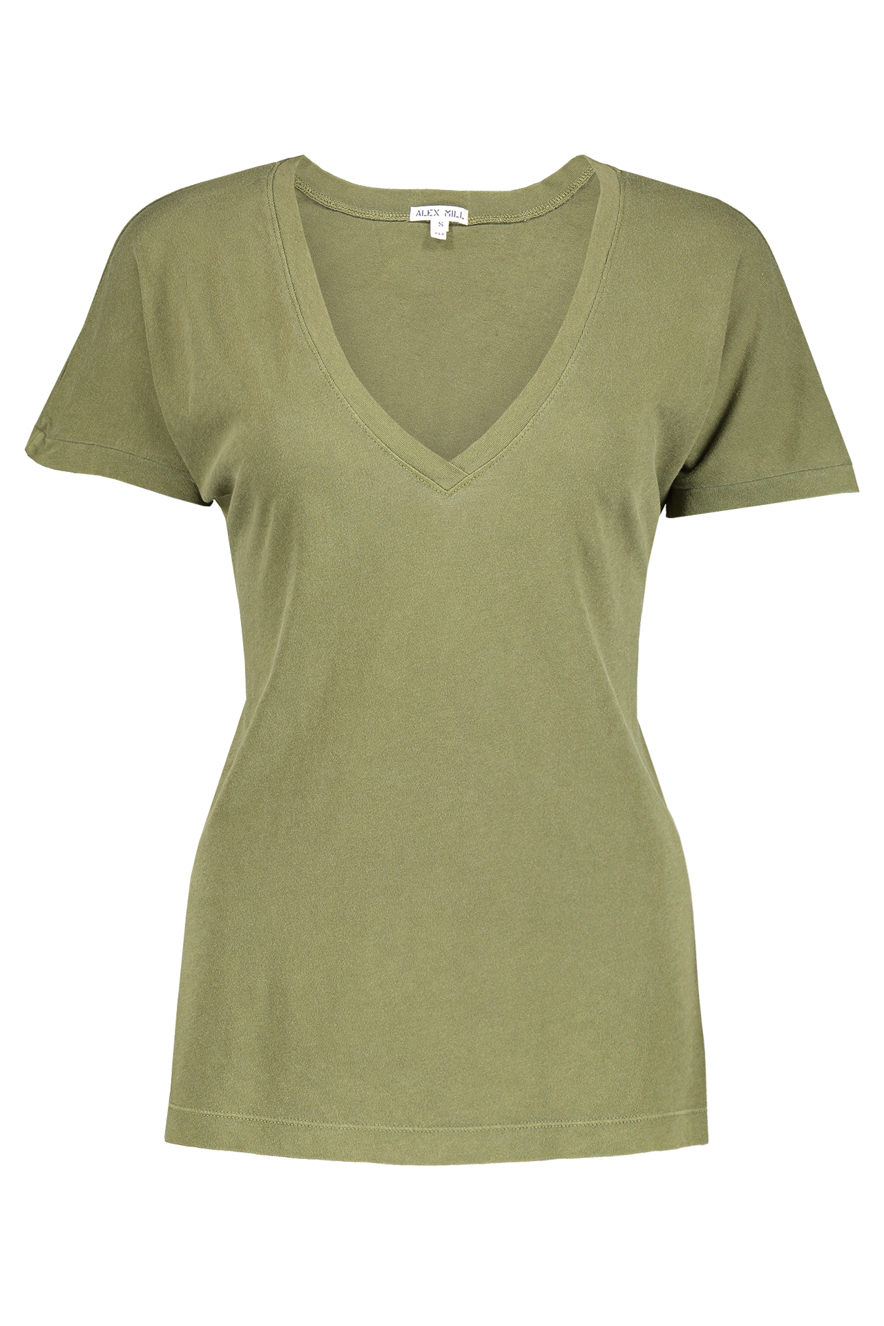 Front image of Alex Mill Women's Laundered Cotton V-Neck Tee Army Olive