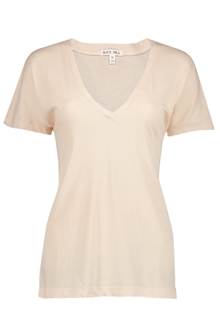 Front image of Alex Mill Women's Laundered Cotton V-Neck Tee Se Salt