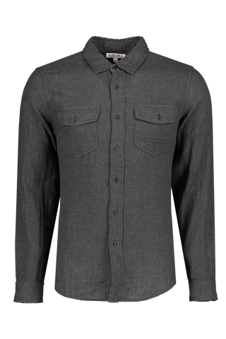 Front image of Alex Mill Men's Long Sleeve Gauze Pocket Shirt Charcoal