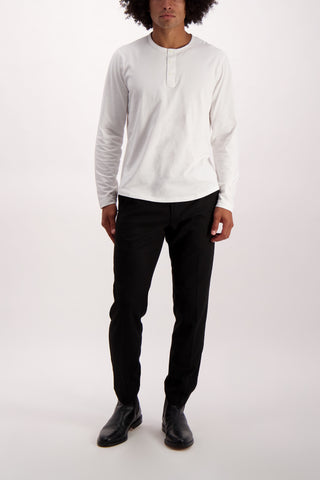Full Body Image Of Model Wearing Alex Mill Men's Long Sleeve Sueded Jersey Henley White