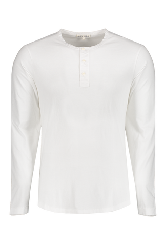 Front image of Alex Mill Men's Long Sleeve Sueded Jersey Henley White