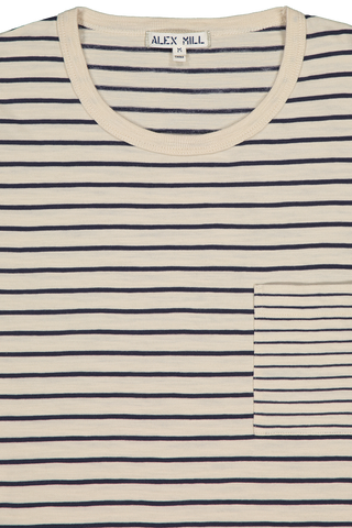 Front collar detail image of Gran Sasso Men's Mixed Stripe Pocket Tee Canvas/Navy