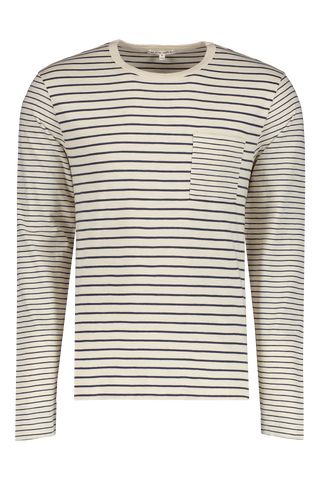 Front view image of Gran Sasso Men's Mixed Stripe Pocket Tee Canvas/Navy