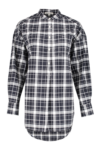 Front view image of Alex Mill Women's Popover Tunic Crinkle Plaid