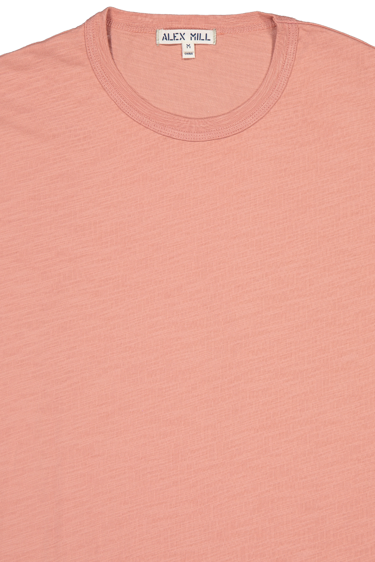 Front collar detail image of Alex Mill Men's Short Sleeve Slub Cotton Tee City Pink