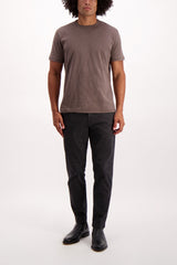 Full Body Image Of Model Wearing Alex Mill Men's Standard Slub Cotton Tee Faded Black