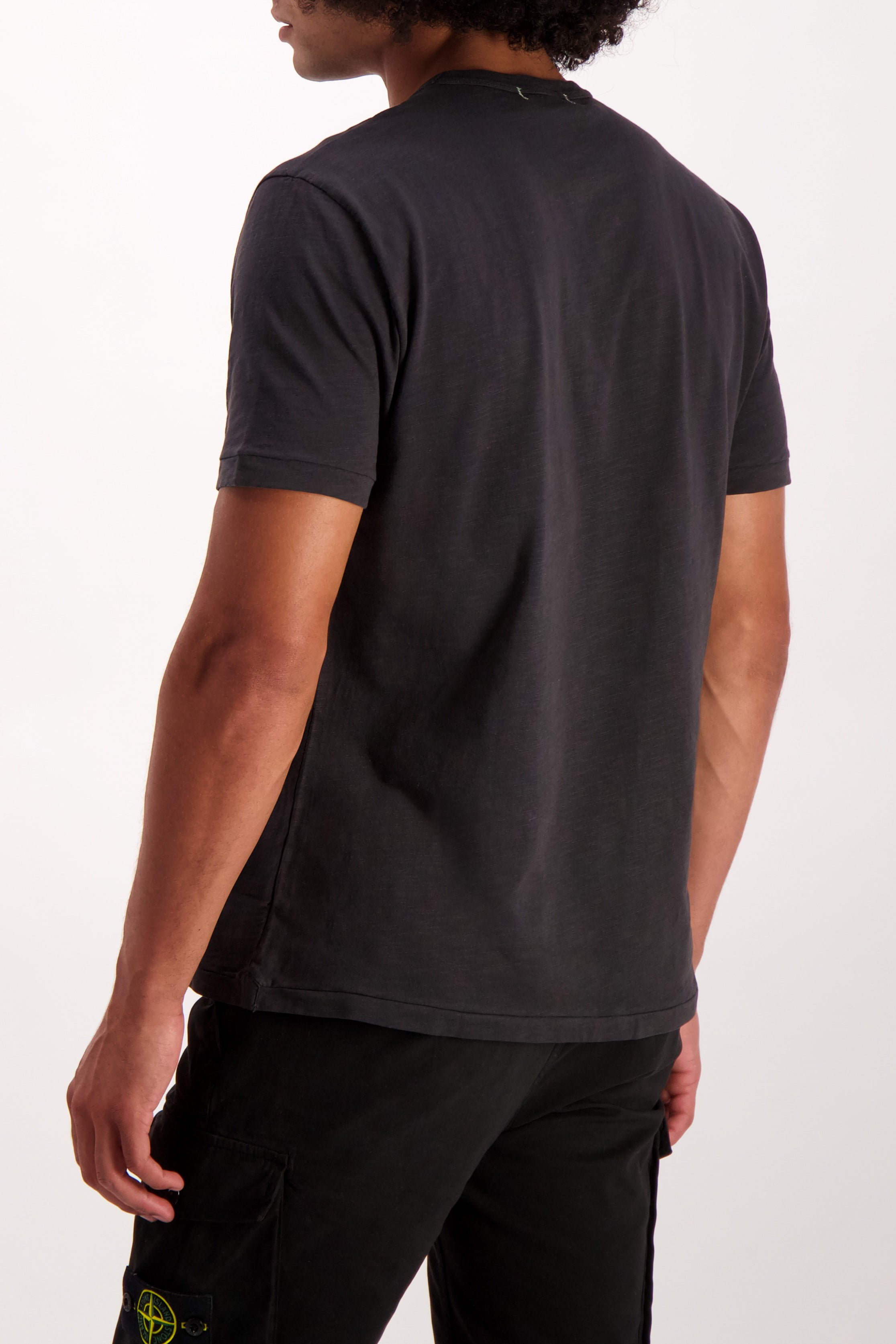 Back Crop Image Of Model Wearing Alex Mill Men's Standard Slub Cotton Tee Black