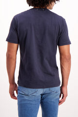 Back Crop Image Of Model Wearing Alex Mill Men's Standard Slub Cotton Tee Navy