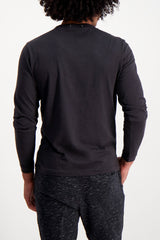 Back Crop  image Of Model Wearing Standard Slub Long Sleeve Cotton Tee Black