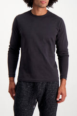 Front Crop  image Of Model Wearing Standard Slub Long Sleeve Cotton Tee Black