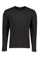 Front image of Men's Standard Slub Long Sleeve Cotton Tee Black