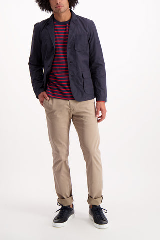 Full Body Image Of Model Wearing Alex Mill Mariner Long Sleeve Navy Stripe