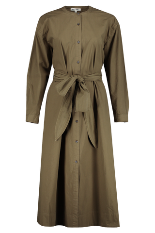 Front view image of Alex Mill Women's Tie Waist Shirtdress Green