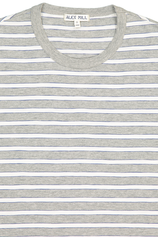 Neck Detail Tri Color Striped Tee