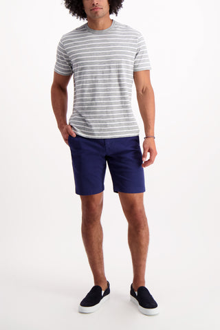 Full Body Image Of Model Wearing Alex Mill Tri Color Striped Tee Grey