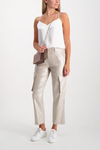 Full Body Image Of Model Wearing Alice & Olivia Mera Zip Cargo Pant