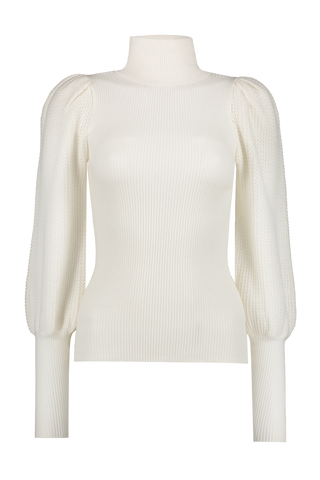 Babette Puff-Sleeve Turtleneck