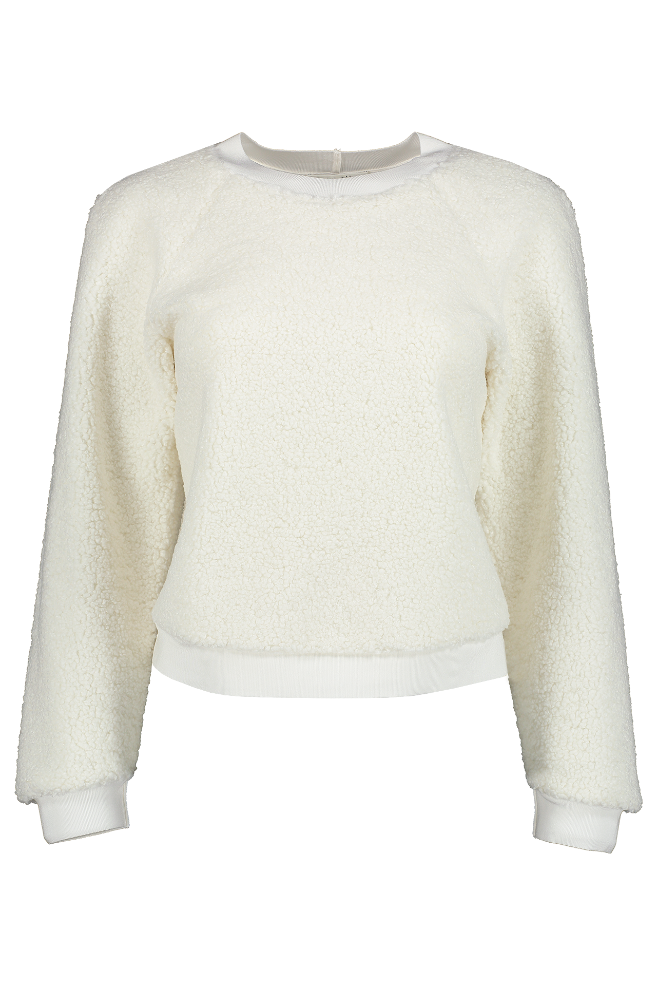 Front view image of Alice & Olivia Calvin Raglan Sleeve Sweatshirt Off White