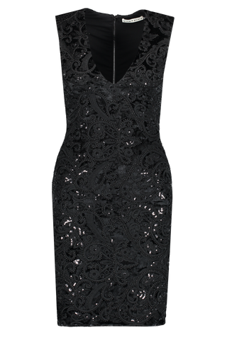 Front view image of Alice & Olivia Alba Midi Dress Black