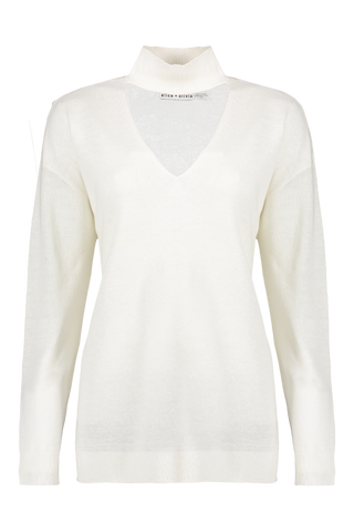 Front view image of Alice & Olivia Women's Alcott Cutout Pullover Off White