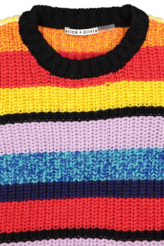 Collar Detail Image of Alice + Olivia Barb Multi Stripe Pullover Sweater