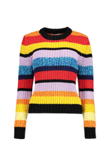 Front Image of Alice + Olivia Barb Multi Stripe Pullover Sweater
