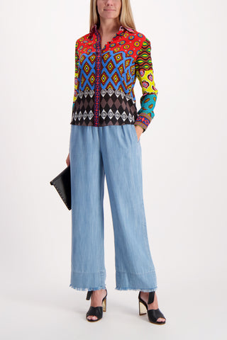 Full Body Image Of Model Wearing Benny Smocked Frayed Ankle Pant