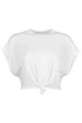 Front Image Of Alice + Olivia Cammy Tie Front Pullover Soft White
