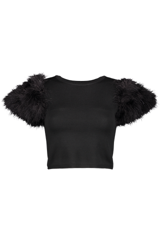 Front image of Alice & Olivia Women's Cirara Feather Cropped Sweater