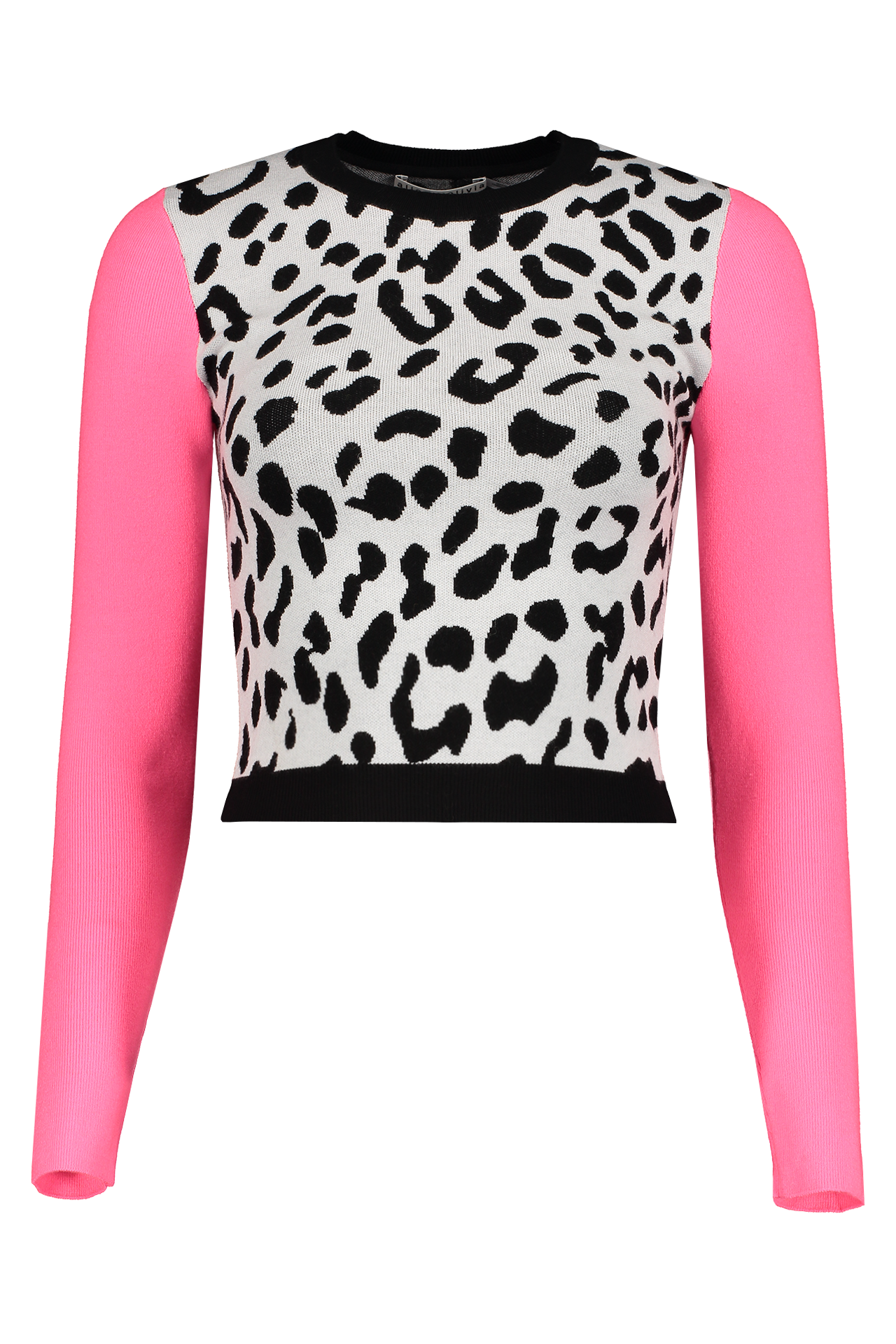 Front view image of Alice & Olivia Ciara Leopard Pullover