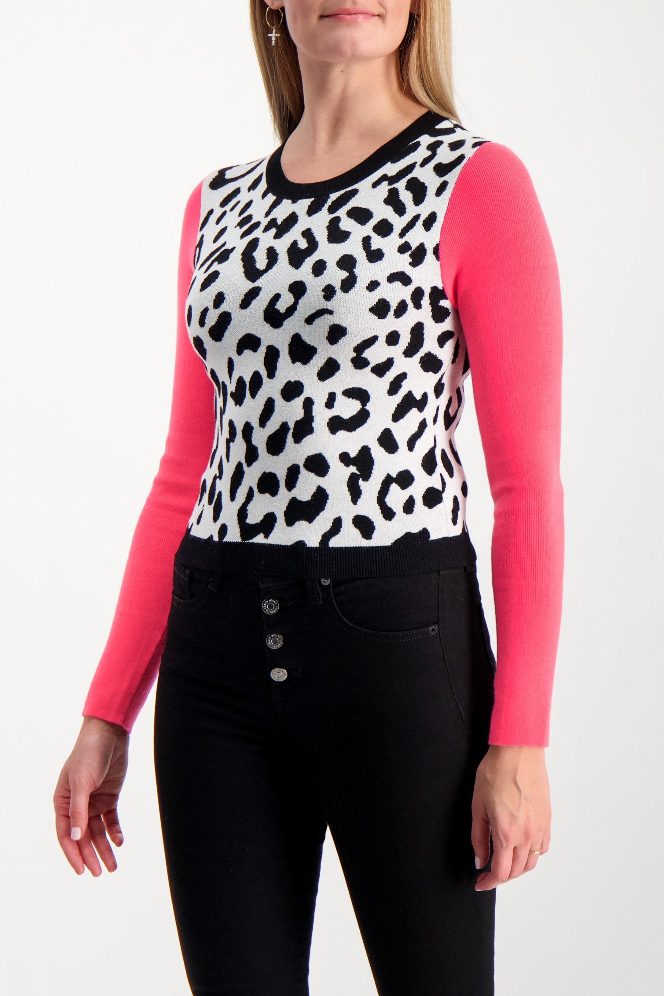Front Crop Image Of Model Wearing Alice & Olivia Ciara Leopard Pullover