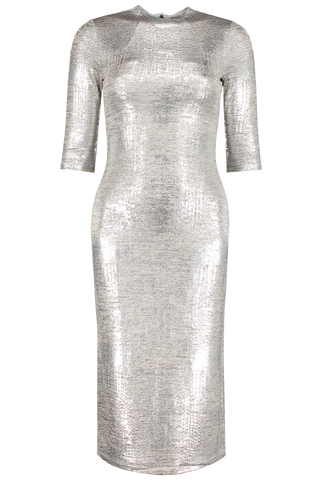 Front view image of Alice & Olivia Delora Fitted Mock Neck Dress Silver