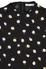 Collar Detail Image of Alice + Olivia Delora Fitted Mock Neck Dress Tossed Daisy Black