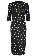 Front Image of Alice + Olivia Delora Fitted Mock Neck Dress Tossed Daisy Black