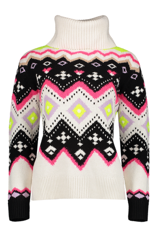 Front view image of Alice & Olivia Emett Relaxed Fairisle Turtleneck Sweater