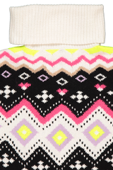 Front collar detail image of Alice & Olivia Emett Relaxed Fairisle Turtleneck Sweater