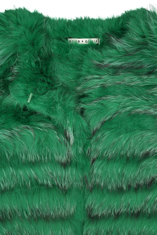 Front collar detail image of Alice & Olivia Fawn Fur Jacket