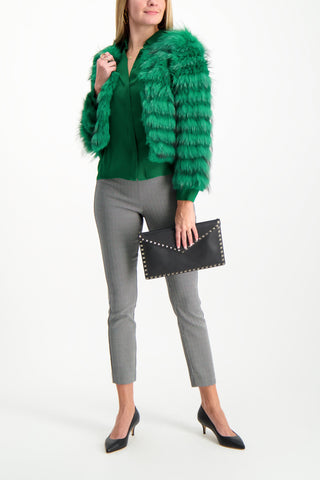 Full Body Image of Model Wearing Alice & Olivia Fawn Fur Jacket