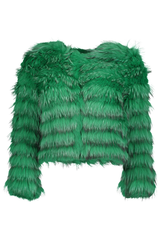 Front view image of Alice & Olivia Fawn Fur Jacket