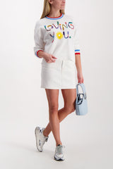 Front Image Model Wearing Gleeson Embellished Pullover Soft White