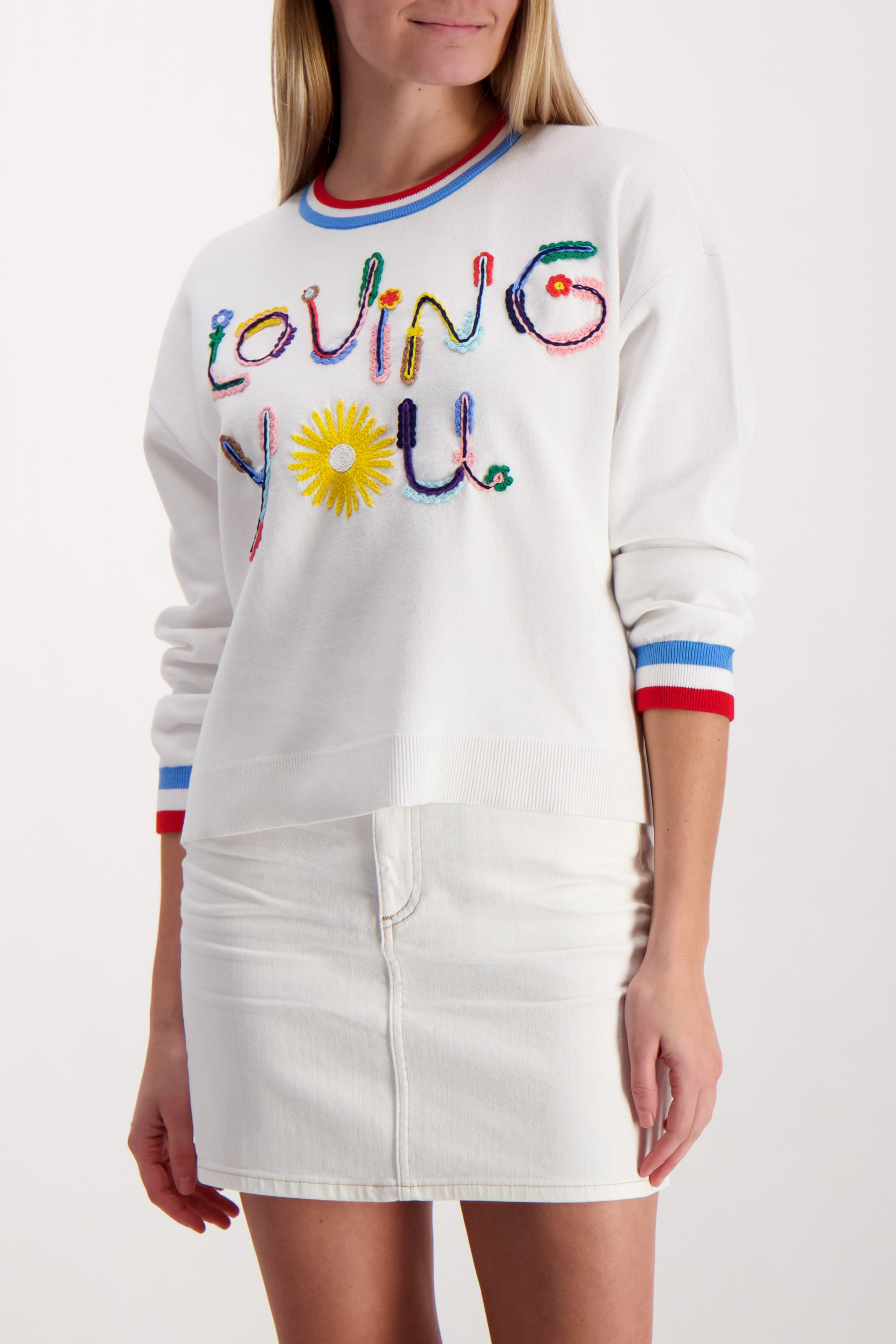 Front Image Detail Model Wearing Gleeson Embellished Pullover Soft White