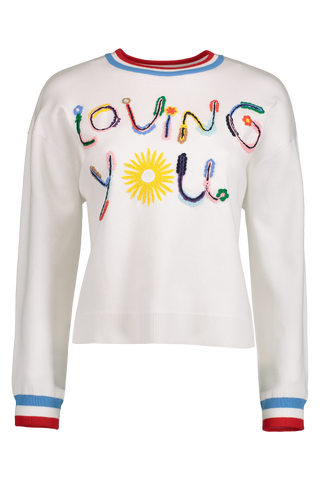 Front Image Gleeson Embellished Pullover Soft White
