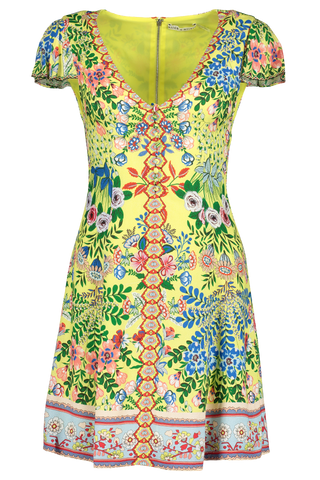 Hadley Button Down Flare Dress Wildflower Daffodil/Multi