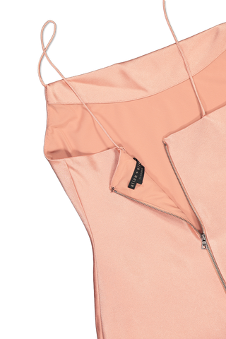 Back zipper detail image of Alice & Olivia Harmony Drapey Slip Dress Rose Tan