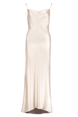 Front view image of Alice & Olivia Harmony Drapey Slip Maxi Dress Taupe