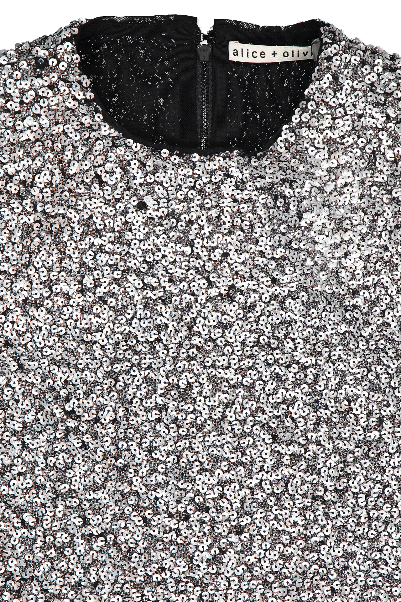 Front collar detail image of Alice & Olivia Inka Embellished Strong Shoulder Dress