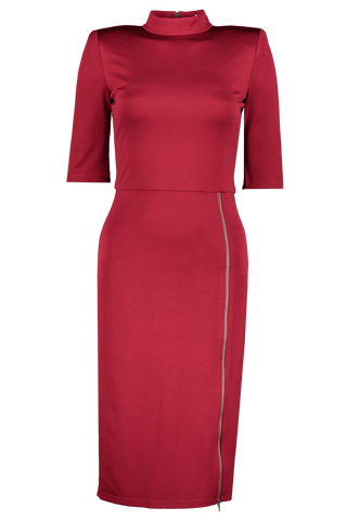 Front view image of Alice & Olivia Women's Inka Mock Neck Slit Midi Dress