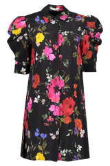 Front view image of Alice & Olivia Women's Jem Gathered Sleeve Shirt Dress