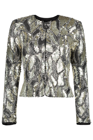 Front Image of Alice & Olivia Kidman Embellished Strong Shoulder Jacket