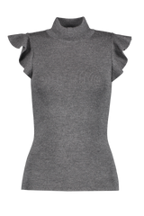 Front image of Alice & Oliva Women's Lamara Turtleneck Tank Charcoal